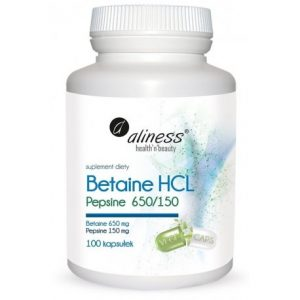 Betaine HCL, Pepsyna 650/150 mg x 100  kapsułek
